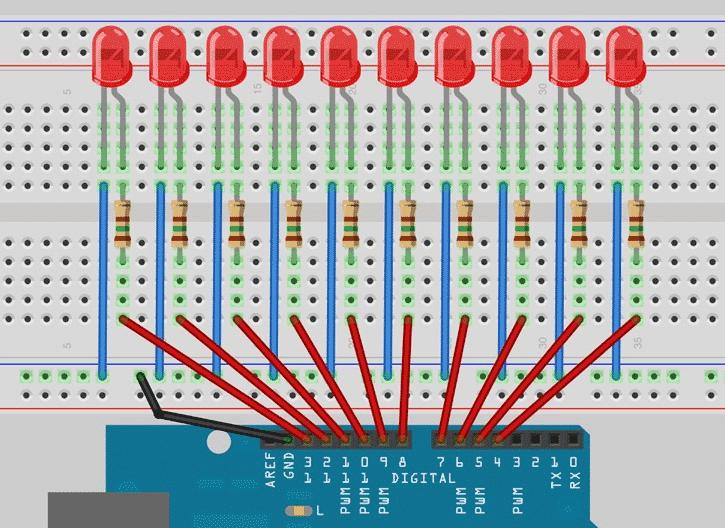 Esquema Arduino - Luces del coche fantástico