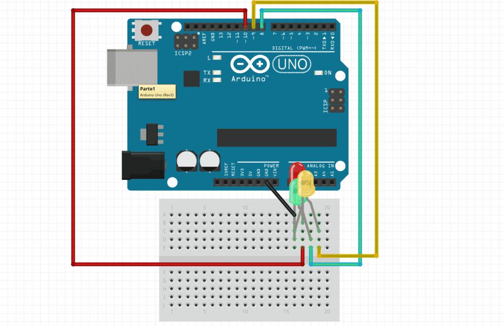 Arduino Esquema - Semáforo para coches
