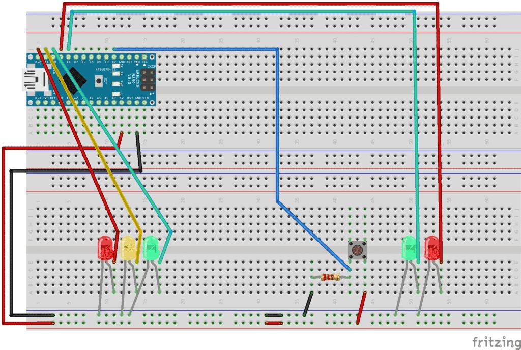 Esquema Arduino - Semáforo coches y peatones
