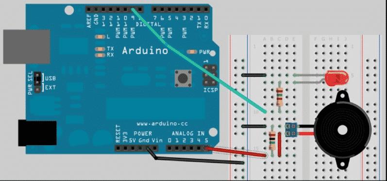 Esquema zumbador como pulsador Arduino
