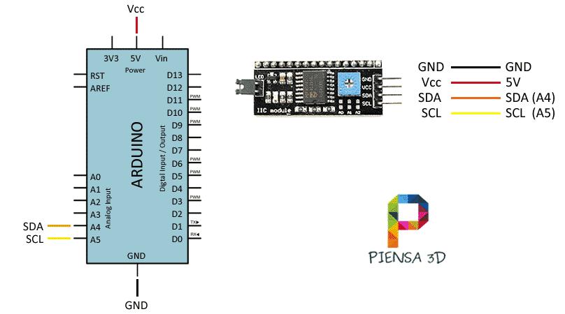 Conexion Arduino LCD 16x2