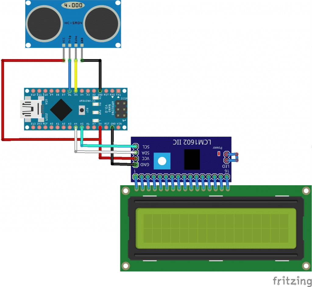 Esquema Arduino y Ultrasonidos HC-SR04