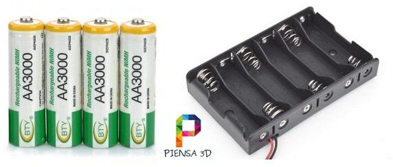 Cómo alimentar Arduino con pilas recargables AA 1.2 V