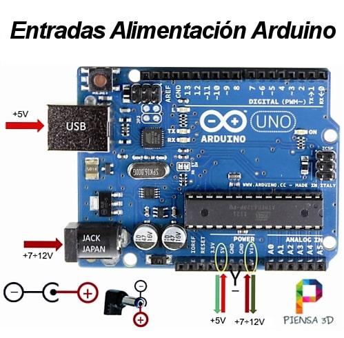 Entradas de alimentación de un Arduino